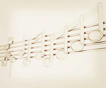 stave: Various music notes on stave. Metall 3d. 3D illustration. Vintage style.