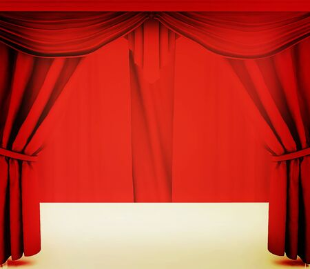 performing arts event: Red curtains. 3D illustration. Vintage style. Stock Photo