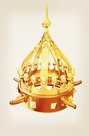 antiques: Gold crown isolated on white background . 3D illustration. Vintage style.
