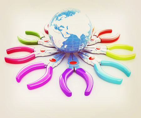 communications tools: Colorful pliers to work and earth. Global tools concept. 3D illustration. Vintage style.