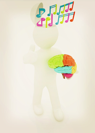 3d people - man with half head, brain and trumb up. ?omposer concept with colorfull note . 3D illustration. Vintage style.