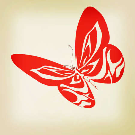 3d butterfly: Abstract butterfly design. 3D illustration. Vintage style.