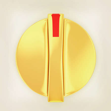knob: 3d white knob on white background. 3D illustration. Vintage style. Stock Photo