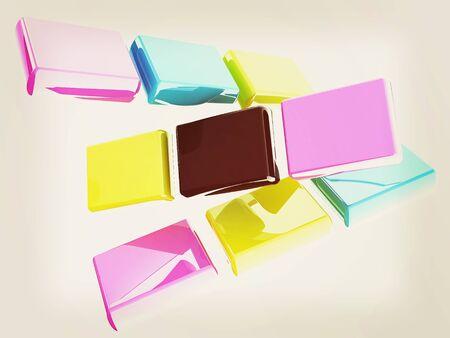 prepress: Glossy CMYK cubes on white . 3D illustration. Vintage style.