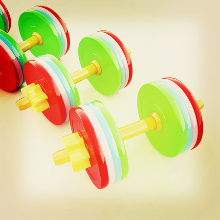 Colorful dumbbells on a white background. 3D illustration. Vintage style. Stock Photo