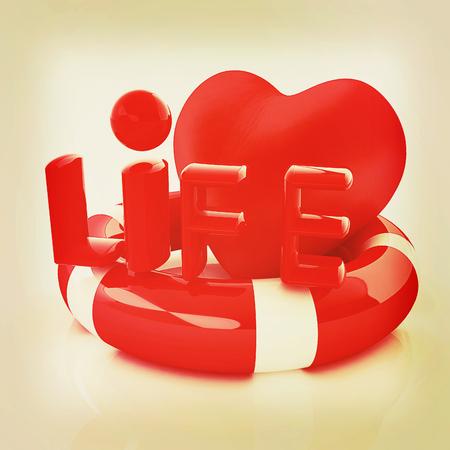 salvavidas: Coraz�n y correa de vida. Concepto de salvar la vida. Ilustraci�n 3D. Estilo vintage. Foto de archivo