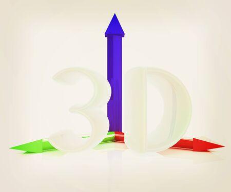stereoscope: 3D text. 3D illustration. Vintage style.