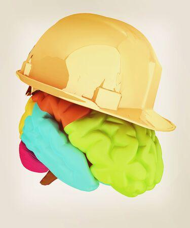 hard hat on brain. 3D illustration. Vintage style. Stock Photo
