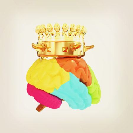 Gold Crown on the brain. 3D illustration. Vintage style.