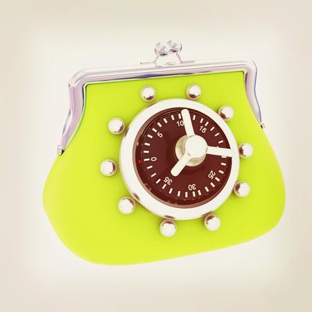 purse safe concept. 3D illustration. Vintage style.