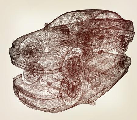 render 3d: model cars. 3d render. 3D illustration. Vintage style.