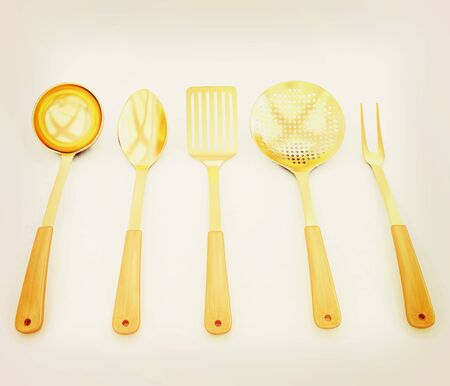gold cutlery on white background . 3D illustration. Vintage style.