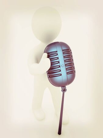 3D man with a microphone on a white background . 3D illustration. Vintage style.