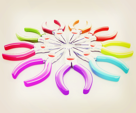 communications tools: colorful pliers to work. 3D illustration. Vintage style.