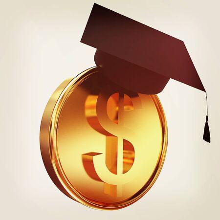 Graduation hat on gold dollar coin. 3D illustration. Vintage style. Stock Photo