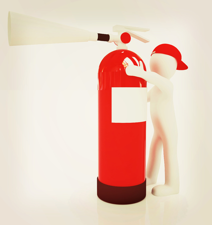 3d man with red fire extinguisher on a white background. 3D illustration. Vintage style.