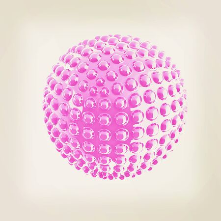 blotchy: Abstract glossy sphere with pimples . 3D illustration. Vintage style.