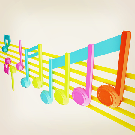 Various music notes on stave. Colorfull 3d. 3D illustration. Vintage style.