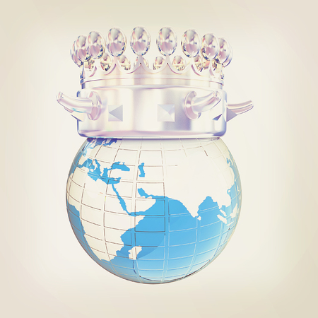 jeweled: Fantastic crown on earth isolated on white background . 3D illustration. Vintage style. Stock Photo