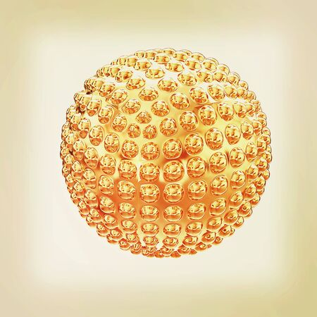 Abstract glossy sphere with pimples . 3D illustration. Vintage style.