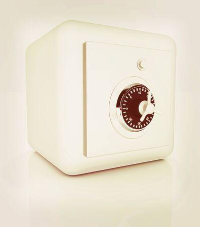 illustration of security concept with metal safe. 3D illustration. Vintage style.