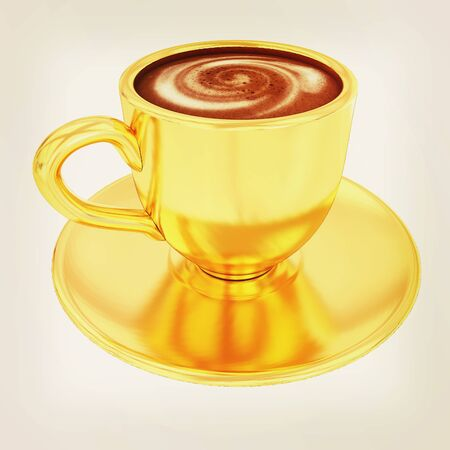 Gold coffee cup on saucer on a white background . 3D illustration. Vintage style.