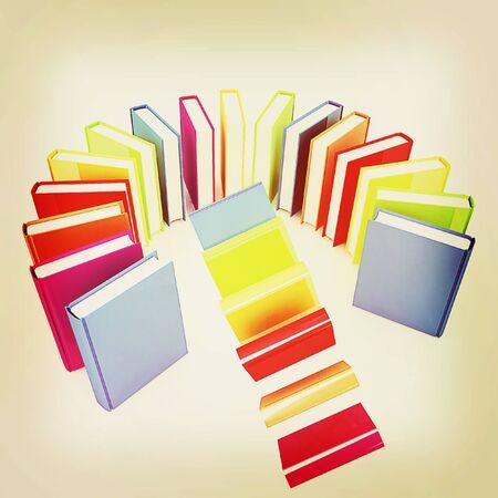 libros volando: libros de colores que vuelan sobre un fondo blanco. Ilustración 3D. Estilo vintage. Foto de archivo