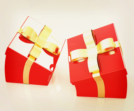 Crumpled gifts on a white background. 3D illustration. Vintage style. Stock Photo