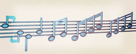 stave: Various music notes on stave. Blue 3d. 3D illustration. Vintage style.
