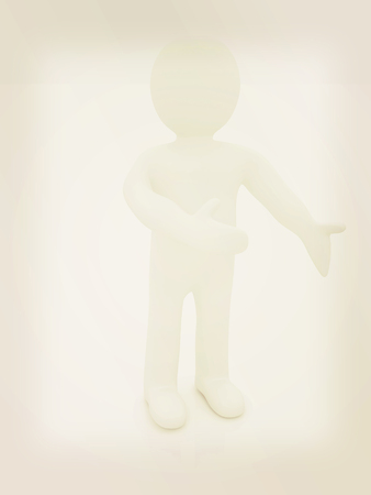 happy 3d: Happy 3d business man showing copy space, isolated on white . 3D illustration. Vintage style.