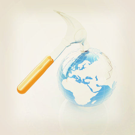 Hammer and earth on white background . 3D illustration. Vintage style. Stock Photo