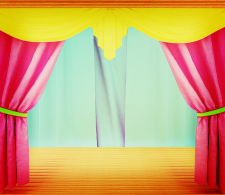 performing arts event: Colorfull curtains and wooden scene floor . 3D illustration. Vintage style.