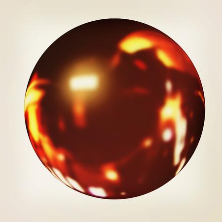 render 3d: Black fire ball 3d render . 3D illustration. Vintage style.
