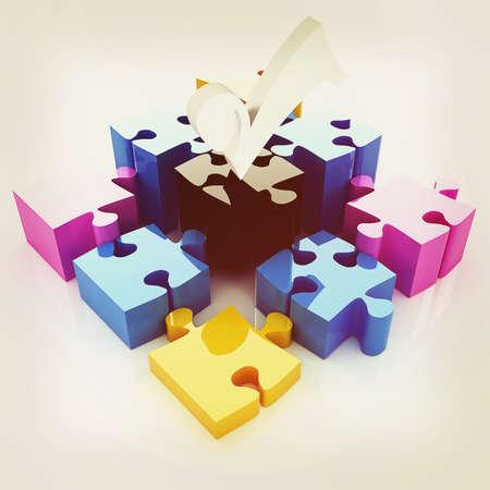 attach         â     â       ©: Puzzle de los cuatro elementos. La imagen conceptual - una paleta CMYK. Ilustración 3D. Estilo vintage.