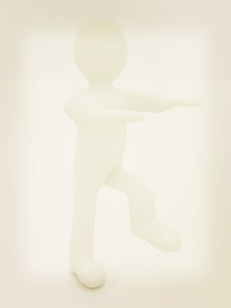 personage: 3d personage on white background. Starting series: stretching before exercise. 3D illustration. Vintage style. Stock Photo