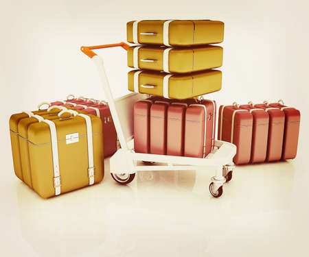 Trolley for luggage at the airport and luggage. 3D illustration. Vintage style.