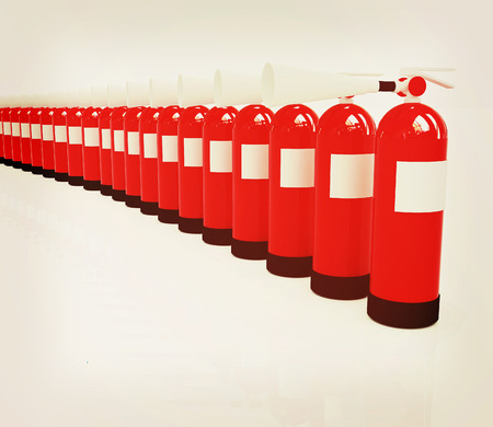 fire extinguishers: Red fire extinguishers on a white background. 3D illustration. Vintage style.