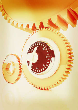 gears with lock. 3D illustration. Vintage style.
