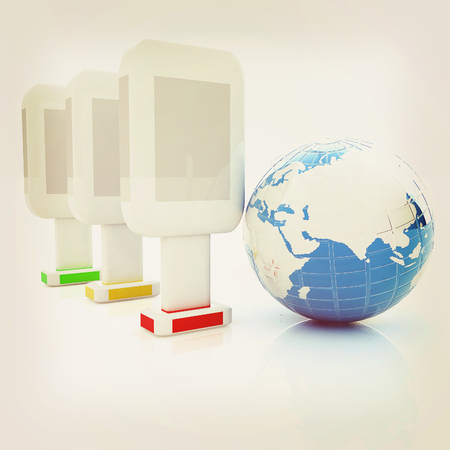 adboard: Vertical glossy billboards and earth. 3d illustration on white background . 3D illustration. Vintage style.