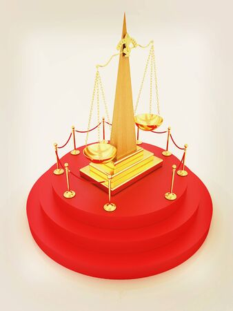 Gold scales of justice on 3d carpeting podium with gold handrail . 3D illustration. Vintage style. Stock Photo