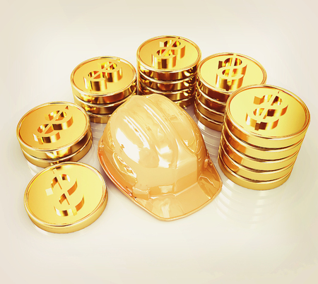 gold coin ctack around hard hat on a white background . 3D illustration. Vintage style.