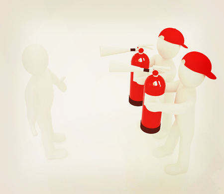 3d mans with red fire extinguisher. The concept of confrontation on a white background. 3D illustration. Vintage style.