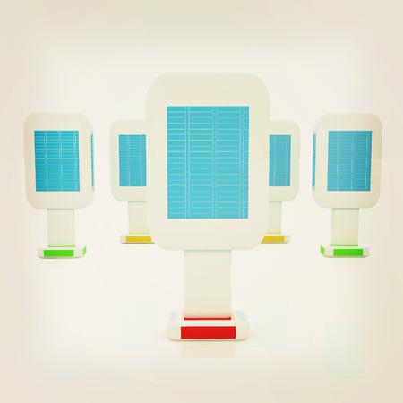 Vertical glossy billboards. 3d illustration on white background . 3D illustration. Vintage style. Stock Photo
