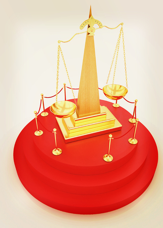 carpeting: Gold scales of justice on 3d carpeting podium with gold handrail . 3D illustration. Vintage style. Stock Photo