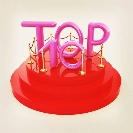 top ten: Top ten icon on white background. 3d rendered image . 3D illustration. Vintage style. Stock Photo