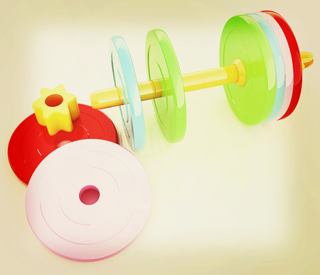 disassembly: Colorful dumbbells are assembly and disassembly on a white background. 3D illustration. Vintage style. Stock Photo