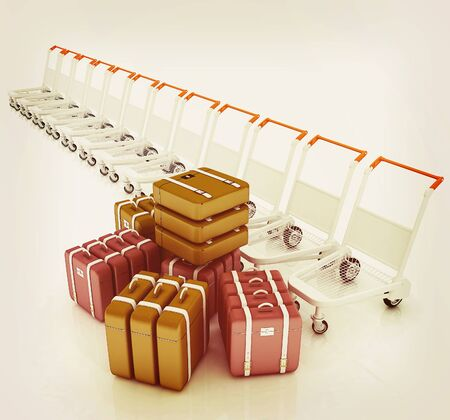 pushcart: Trolleys for luggages at the airport and luggages . 3D illustration. Vintage style.