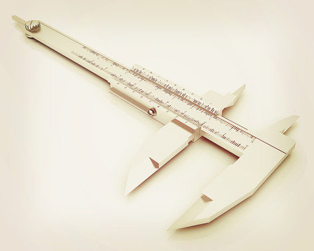 trammel: Vernier caliper on a white background. 3D illustration. Vintage style.