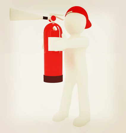 suppression: 3d man with red fire extinguisher on a white background. 3D illustration. Vintage style.