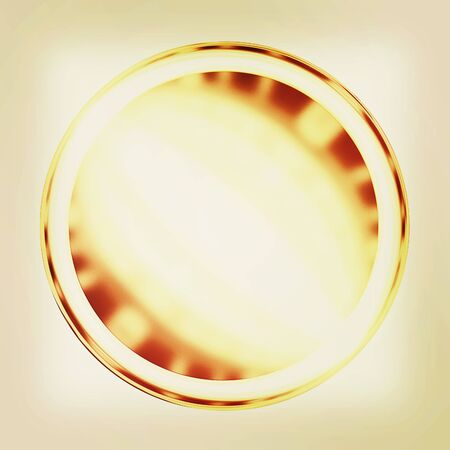 Golden Web button isolated on white background. 3D illustration. Vintage style.